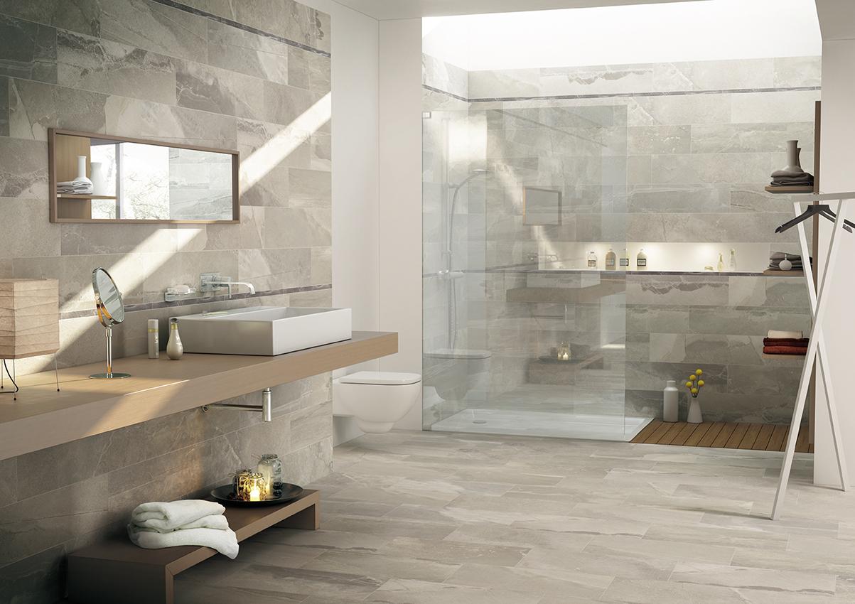 Ceramiche pronte effetto pietra tracks gres - Piastrelle per bagni moderni ...